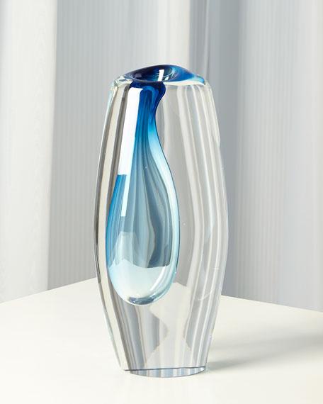 Global Views Off Set Vase - Light Blue - Large