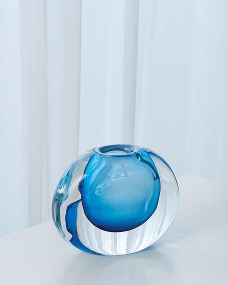 Global Views Off Set Round Vase - Light Blue
