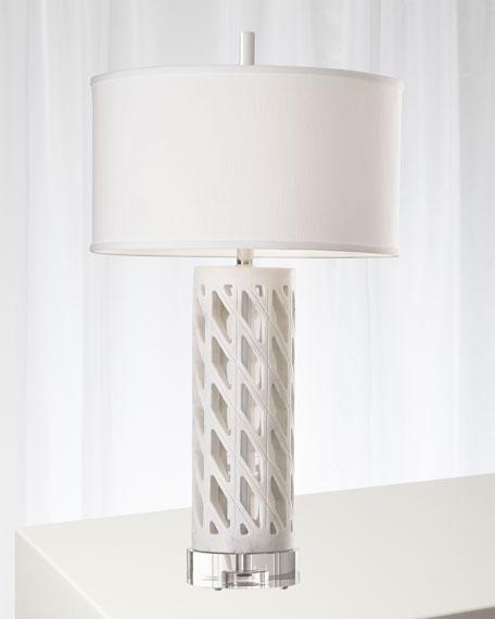Global Views Diamond Fret Lamp - White