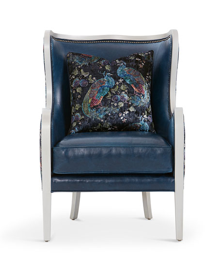 Image 2 of 3: Massoud Bishop Leather Wing Chair