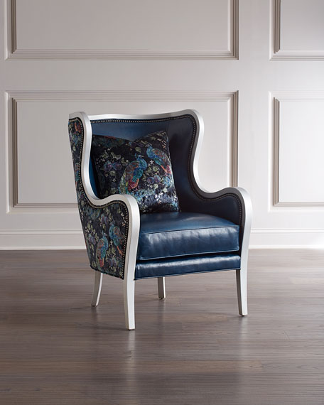 Image 1 of 3: Massoud Bishop Leather Wing Chair