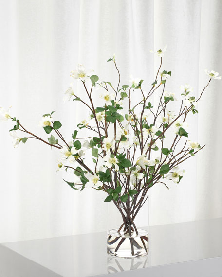 NDI White Dogwood Branch Arrangement in Glass Cylinder