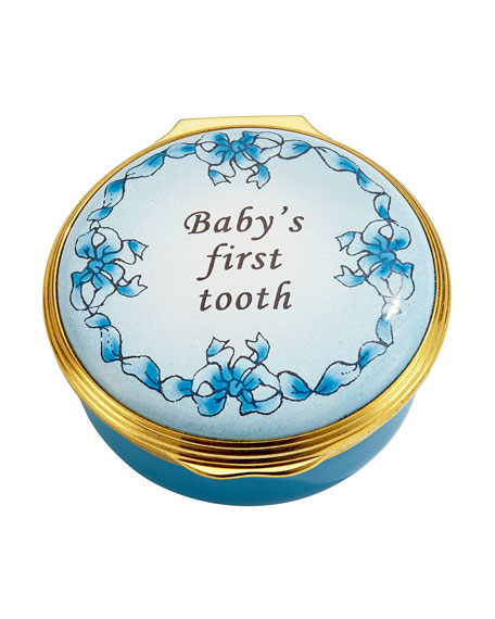 Halcyon Days Blue Baby's First Tooth Enamel Box