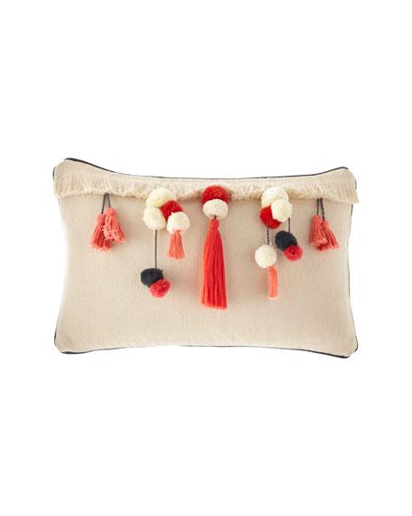 """Decorative Tassels Pillow, 13"""" x 21"""""""