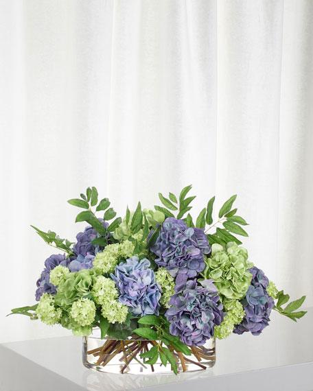 NDI Blue Green Hydrangea Snowball in Glass Oval Vase