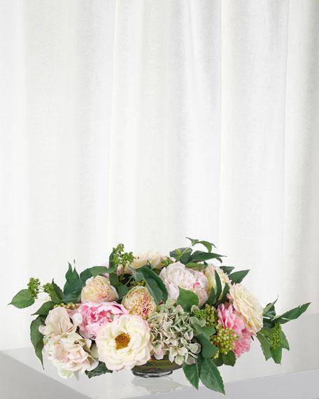 NDI Cream Pink Green Peony Hydrangea in Glass Bowl