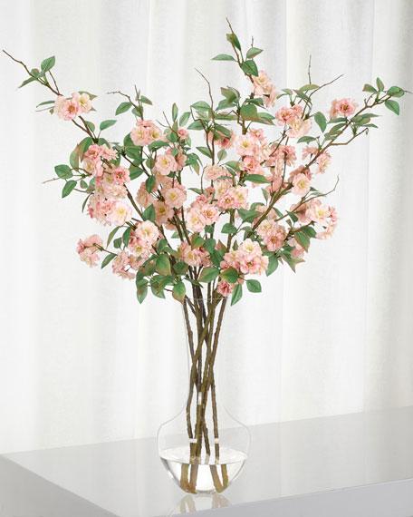 NDI Pink Apple Blossom in Glass Vase