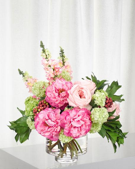 NDI Pink Fuchsia Snapdragon Peony Arrangement in Glass Vase