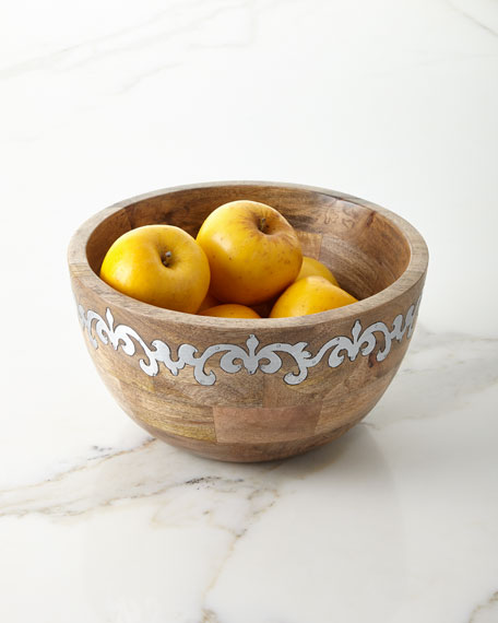 G G Collection Mango Wood Tall Serving Bowl with Metal Inlay
