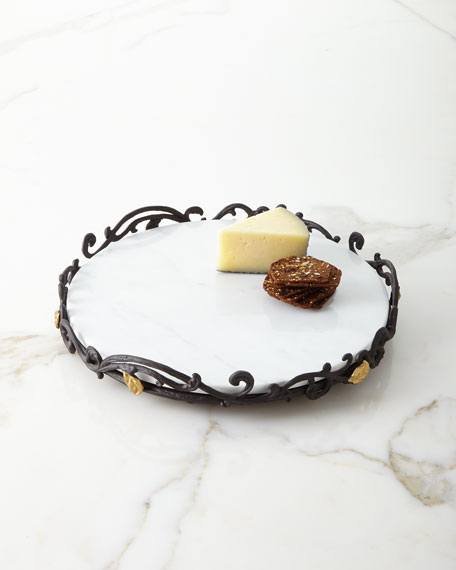 G G Collection Marble Lazy Susan in Metal Gold Leaf Base
