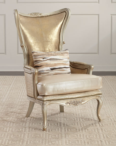 Massoud Kentmere Leather Wing Chair