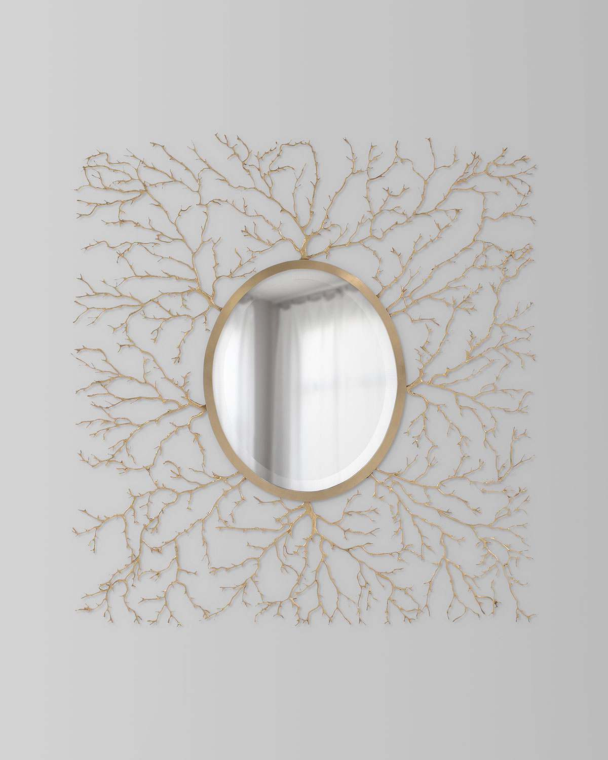 John-Richard Collection Oval Mirror in Square Branches Frame