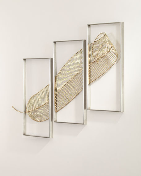 Image 2 of 2: John-Richard Collection Gold Leaf Triptych Wall Sculpture