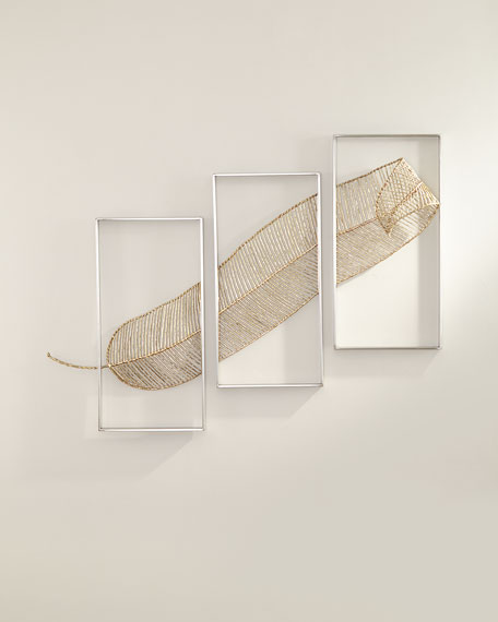 Image 1 of 2: John-Richard Collection Gold Leaf Triptych Wall Sculpture