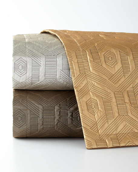 Dian Austin Couture Home Metallic Geometric Quilted Queen Coverlet