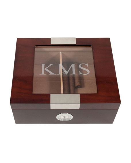 Bey-Berk Men's Personalized Wooden Cigar Humidor