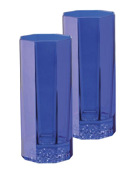 Versace Medusa Lumiere Blue Long Drinking Glasses, Set of 2