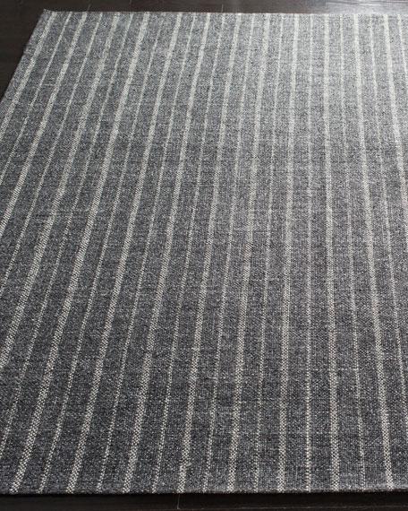 Lauren Ralph Lauren Miles Charcoal Stripe Flat Weave Rug, 5' x 8'
