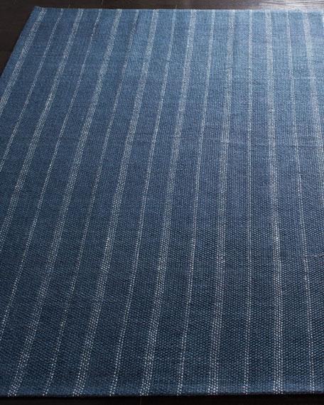 Lauren Ralph Lauren Miles Navy Stripe Flat Weave Runner, 2.6' x 8'
