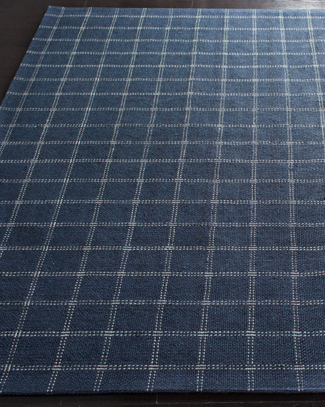Lauren Ralph Lauren Tamworth Navy Check Hand-Woven Rug, 4' x 6'