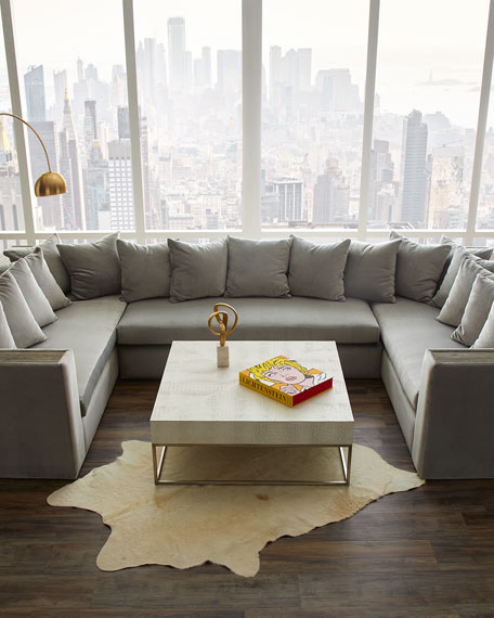 Image 2 of 4: Haute House Donovan Tile Trimmed Sectional Sofa with 17 Pillows