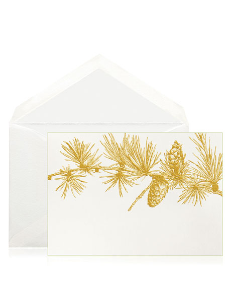 Bell'INVITO Gold Pine Branch Stationery Set, Box of 10