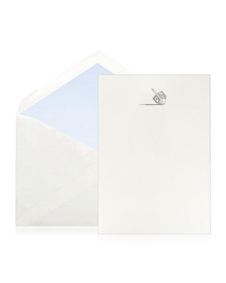 Bell'INVITO Silver Dreidel Stationery Set, Box of 10