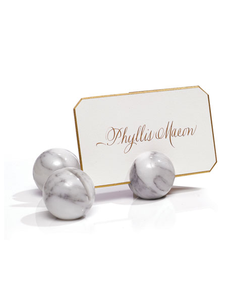 Bell'INVITO Calacatta Marble Place Card Holders, Set of 6