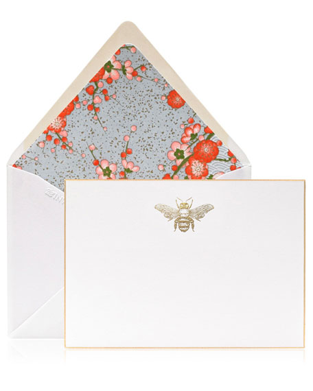 Bell'INVITO Buzz Gold Engraved Bee Stationery Set, Box of 10