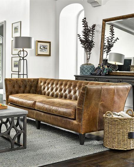 "Schmidt Tufted Leather Sofa, 98"""