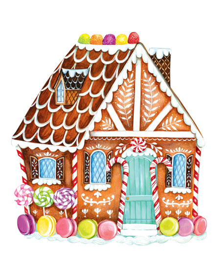 Hester & Cook Set of 12 Gingerbread House Paper Placemat