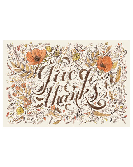 Hester & Cook Set of 24 Give Thanks Paper Placemat