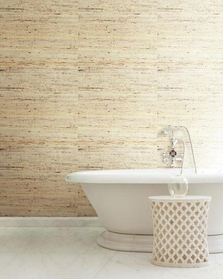 York Wallcoverings Cream Grasscloth Wallpaper Sample
