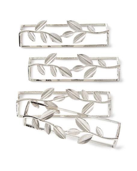 Tin Parade Leaf Silver Napkin Rings, Set of 4