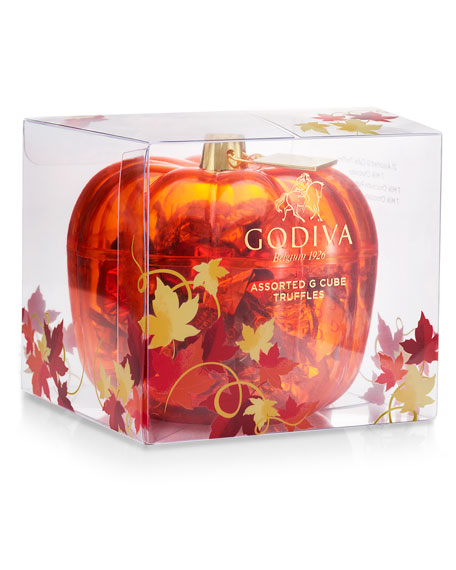 Godiva Chocolatier 21-Piece Assorted G Cubes in Pumpkin Candy Dish