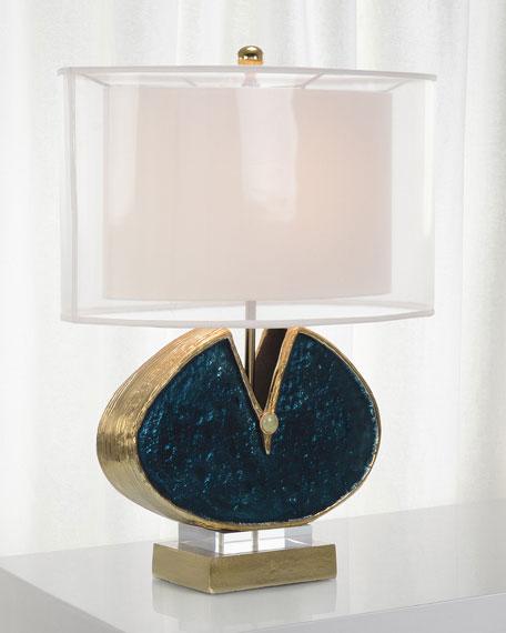 John-Richard Collection Blue Enameled & Jeweled Lamp