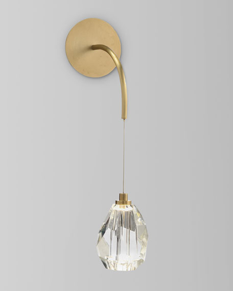 John-Richard Collection Faceted Cut Crystal Single Light Sconce