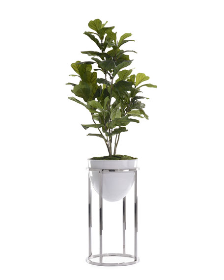 John-Richard Collection Green Fiddle Leaf Fig with Silver Stand