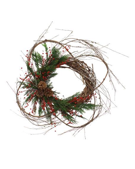 "Floral Treasure 23"" Bohemian Holiday Wreath"