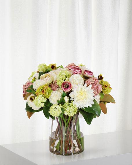 Winward Dahlia Ranunculus & Rose in Cylinder Vase