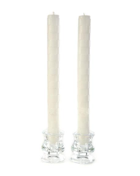 MacKenzie-Childs White Raised Check Dinner Candles, Set of 2