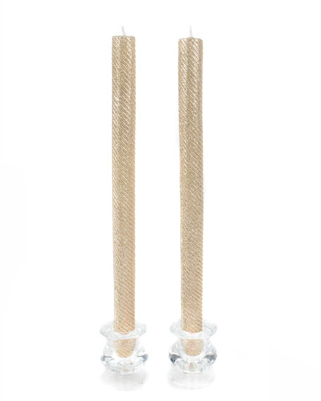 MacKenzie-Childs Shimmer Dinner Gold Candlesticks, Set of 2
