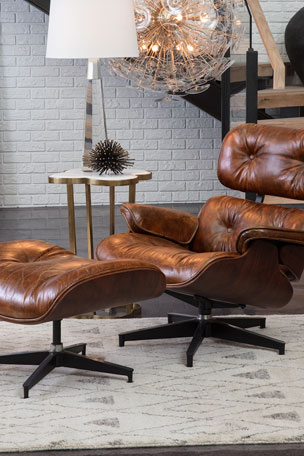 Regina Andrew Barca Leather Lounge Chair & Ottoman