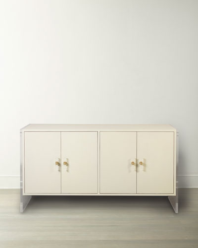 Korey 4-Door Faux Shagreen Cabinet