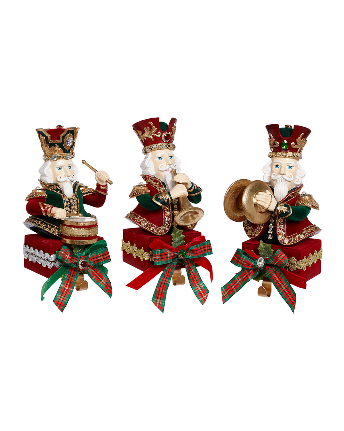 Mark Roberts Band Of Nutcrackers Stocking Holders Set Of 3