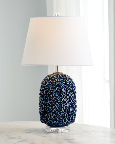 Image 2 of 2: Ceramic Ruffle Table Lamp