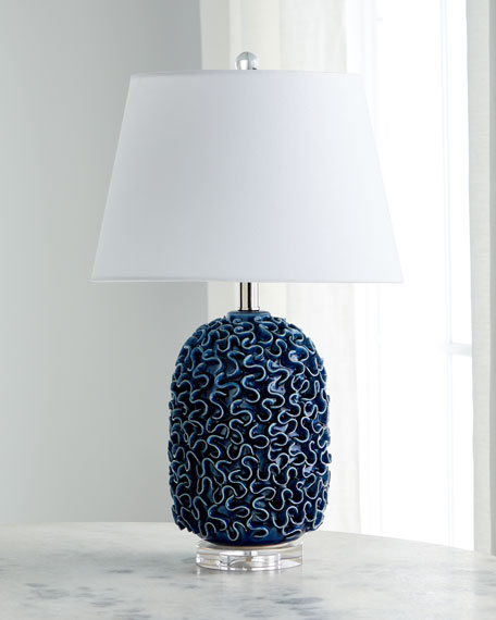Image 1 of 2: Ceramic Ruffle Table Lamp
