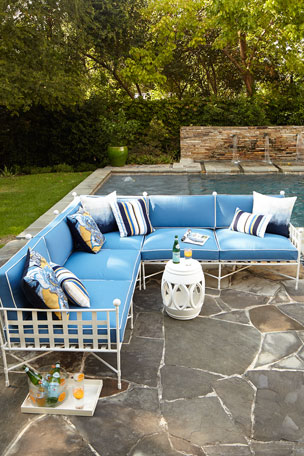 Avery Sectional Set, White/Blue
