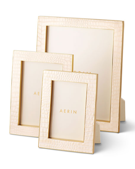 "Image 1 of 4: AERIN Classic Croc Leather Frame, 4"" x 6"""