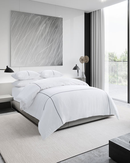 Vera Wang Zigzag White King Duvet Cover Set